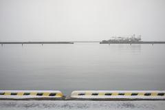 The day when it snowed just slightly (mokuu) Tags: snow 雪 sea 海 wheelstopper 車止め quay 岸壁 wharf 埠頭 波止場