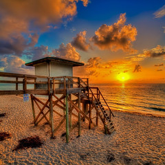 Lantana-Beach-Sunrise-Over-Lifeguard-Tower_ (anuragsingh17) Tags: atlanticocean beach captainkimo florida hdrphotography highdynamicrange lantanabeach lifeguardtower palmbeachcounty photomatixpro sunrise topazadjust