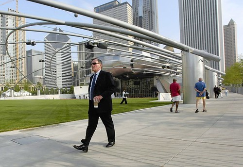 Mayor Richard Daley tours Millennium Park the morning of the grand opening, the first time the park was open to the public.