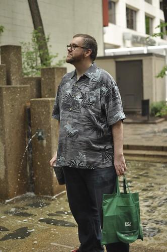 modeling his Hawaiian shirt
