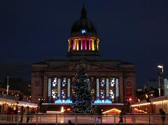 Old Market Square, Nottingham (PeteZab) Tags: christmas nottingham uk decorations night lights skating christmastree nottinghamshire marketsquare councilhouse notts festiveseason petezab
