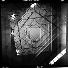 stairway (Pezti) Tags: blackandwhite bw 120 6x6 film mediumformat square iceland holga reykjavik stairway reykjavík ísland filma kodaktrix400 tröppur svarthvítt