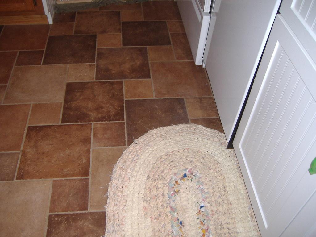 Kitchen floor and rug