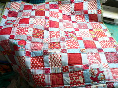 aqua red babyquilt (qusic) Tags: red baby germany aqua quilt flannel quilted colourful patchwork csquiltdesign d9patch