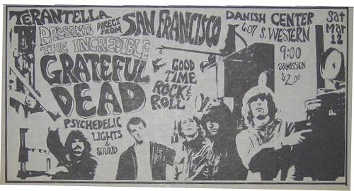 Grateful Dead - Danish Hall 3/12/66 newspaper ad
