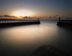 Whitby Harbour, North Yorkshire (Corica) Tags: uk longexposure greatbritain sunset sea england clouds landscape harbour britain yorkshire northsea whitby gb pointandshoot ricoh northyorkshire whitbyharbour corica gx100 aplusphoto