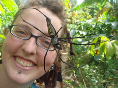 me and an enormous spider i found on a walk near munduk