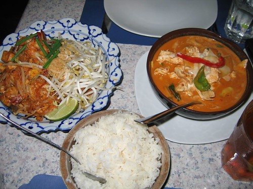 Pad Thai with Shrimp and Spicy Red Curry