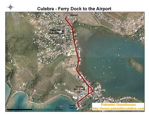 Culebra Aerial Map Ferry Dock to Airport