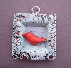 Niche-Little Red Bird (gabriel studios) Tags: blue red bird texture nature painted clay etsy sculpted polymer pcagoe gabrielstudios michelegabrielstudios