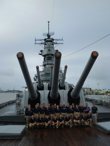 Students from Claremore High School, Oklahoma, on board the USS Missouri