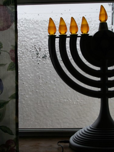 Iced kitchen window and menorah