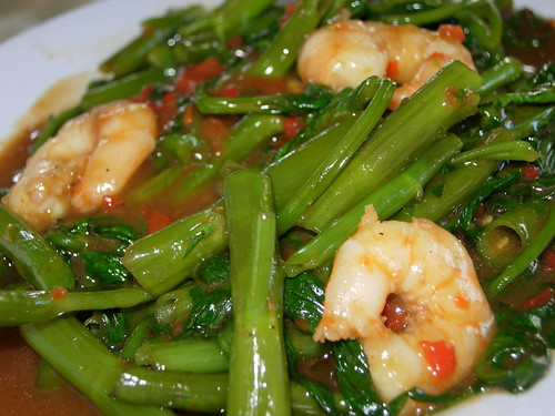 fried kangkong with sambal and prawns