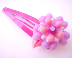 Pink and Purple Vintage Flowers Barrette