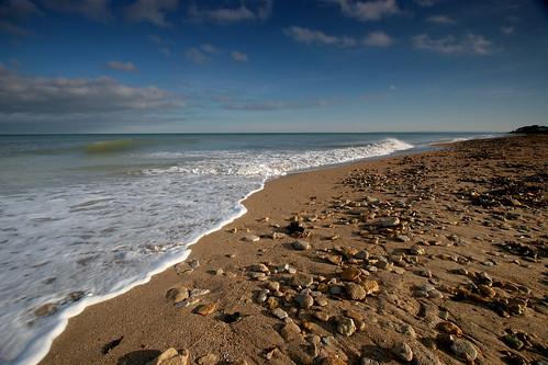 La plage de Saint Aubin sur mer, Calvados, en hiver