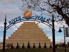 River Walk Entrance (Photos by Pogue) Tags: california building river cloudy walk sacramento skys ziggurat piramyd