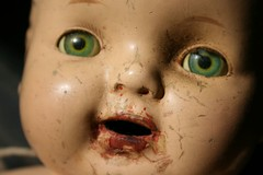 doll 3 (suzanneduda) Tags: old baby vintage doll antique creepy dollhead crackhead foundintrash inasuitcase