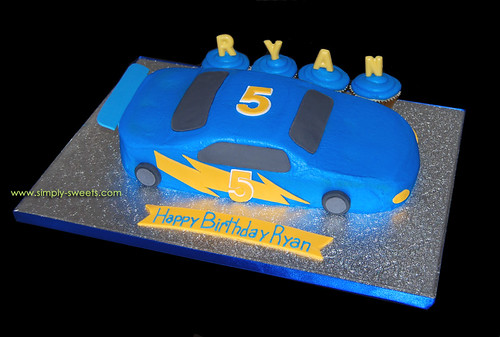 Blue Race Car Cake 5th Birthday