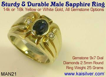 Durable Sapphire Men's Ring