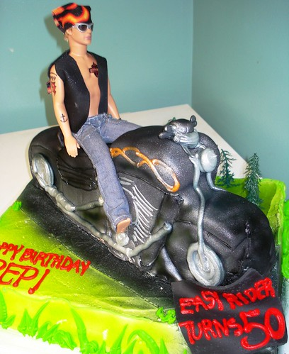 motorcyle cake with ken doll