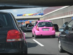 Mary Kay clown car (viewsocruel) Tags: pink mercedes traffic autobahn marykay aclass pinkmercedes