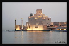 .. Museum of Islamic Art .. (Q.T.R_B.o.y  M.A.D.R.I.D.I ) Tags: lighting blue sea sky art heritage museum architecture modern amazing shot harbour great architect p treasures islamic doha cornich mywinners platinumphoto qtrboy 7abet 9afwatha rasembadran