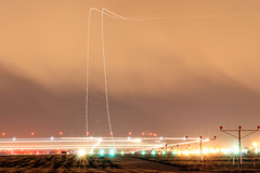 UPS 757 Taking The Runway & Departing DSM @ Night (Kris Klop) Tags: aviation aircraft airplane plane airport us usa dsm des moines ups boeing 757 b757 takeoff take off night light lights long exposure