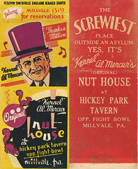 Nut House (jericl cat) Tags: illustration vintage paper design al ephemera mercer tavern font matchbook kernel nuthouse hickorypark