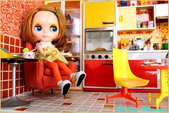 aah, It's been a long day! (Retro Mama69) Tags: retro blythe 1960 orangeandyellow retromama kitchentoy retrotoykitchen kitchendiorama vintagetintoykitchen kitchenroombox fuchstoykitchen vintagefuchstoy rementsminiature miniaturetoykitchen niccaskitchen grooviekitchen amscoapartmentfurniture amscodinnette