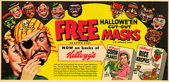 Kellogg's Halloween Cut-Out Masks Newspaper Ad (Neato Coolville) Tags: halloween ad pirate 50s cornflakes 1950 kelloggs ricekrispies 1953 cutoutmasks