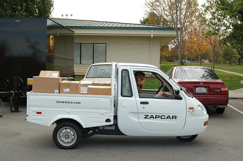 UPS delivers load of packages in ZAP electric truck from Flickr