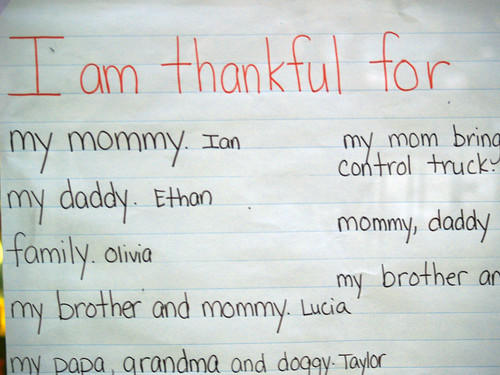 paper from child saying what they are thankful for