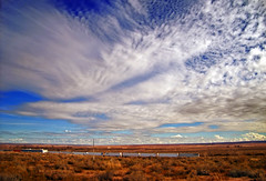 Finespun (Nicholas_T) Tags: autumn sky newmexico weather clouds rural lowlight driving desert roadtrip creativecommons i40 altocumulus interstate40
