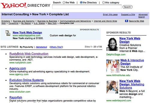 Yahoo Directory Image Sponsored Ads