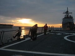 Deck of the McFaul at sunset (stepol) Tags: sunset jan norfolk navy destroyer va scouts campout 2008 mikem peterw arleighburke navalbase michaelm ussmcfaul ddg74 troop737 christopherw missiledestroyer
