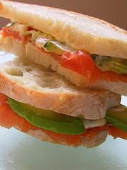 Smoked salmon sandwich w wasabi