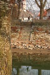 Opposite (sonofsteppe) Tags: street trees light reflection vertical composition plane river 50mm spring soft hungary dof bokeh stones dry explore walker local riverbank exploration esztergom planetree depthless sonofsteppe pusztafia kisduna egom urbanlifeoftrees