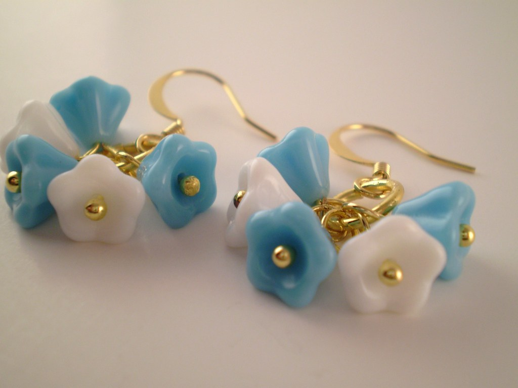 Blue and White Czech Glass Flower Earrings with Gold Filled Ear wires
