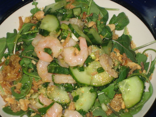 Asian shrimp cucumber salad on arugula