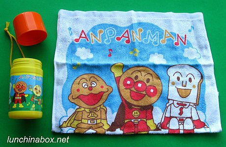 Anpanman oshibori hand towel and case