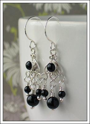 Gemstone & Bali silver earrings