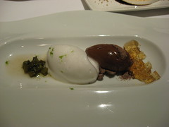 Charlie Trotter's: Venezuelan chocolate custard with kaffir lime, grilled cactus and agavero jelly (close up another view)