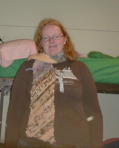 Bias garter stitch handspun handknit scrap scarf