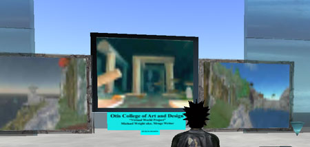Torrey views Michael Wrights art in Second Life