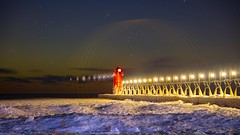 South Haven artifacts (Notkalvin) Tags: southhaven michigan lighthouse frozenlighthouse outdoor night longexposure lensflare notkalvin mikekline notkalvinphotography beach lakemichigan snow cold reallycold superdamncold sunset evening dark