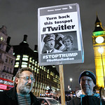 Twitler unwelcome in the UK. Anti-Trump protesters outside the British parliament.