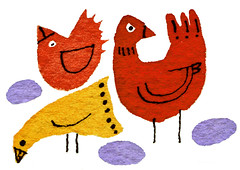 Three Birds (maralina!) Tags: red orange bird art chicken yellow illustration ink jaune watercolor notebook rouge sketch drawing aquarelle birth egg sketchbook dessin jeunesse doodle childrens hatch poule hen oiseau naissance encre poulet oeuf croquis carnet