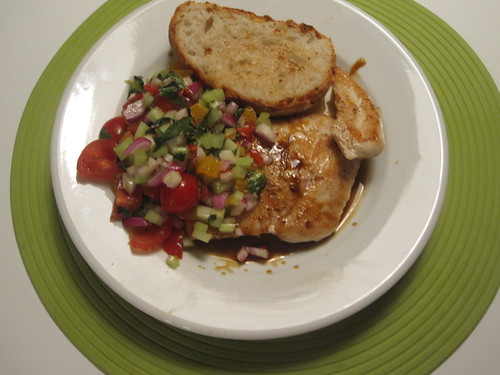 Chicken with clementine-tomato-basil salsa, homemade bread
