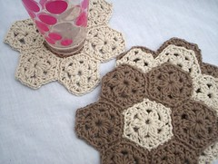 crochet coasters (baban cat) Tags: brown wales handmade crochet cream cotton etsy coasters organiccotton