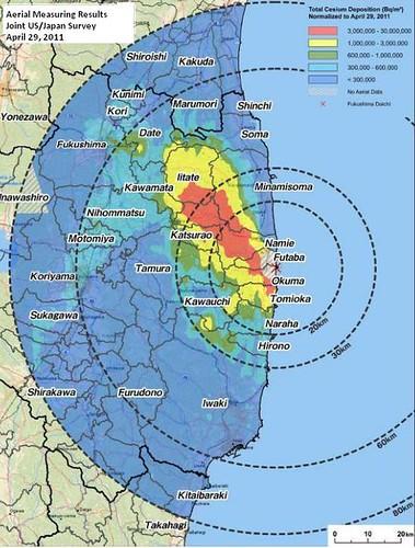 Карта радиационного заражения почвы в Японии